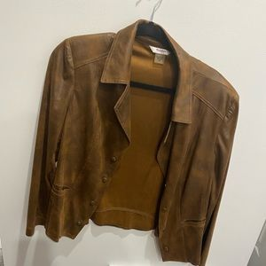 Size 14P Tan Jay suede look blazer- soft as butter